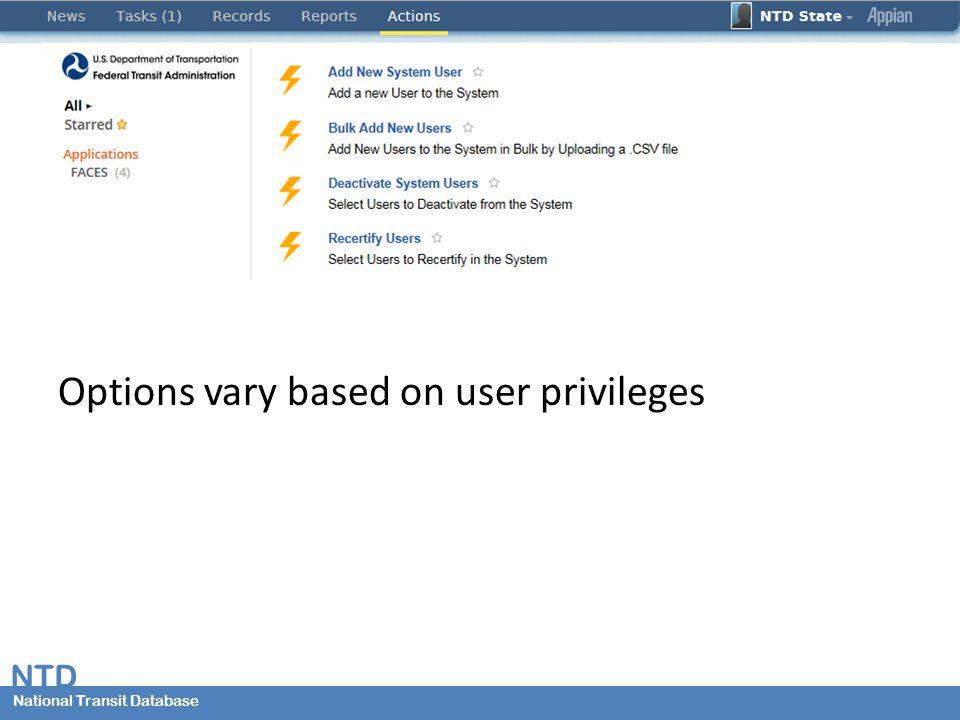 National Transit Database NTD National Transit Database Options vary based on user privileges