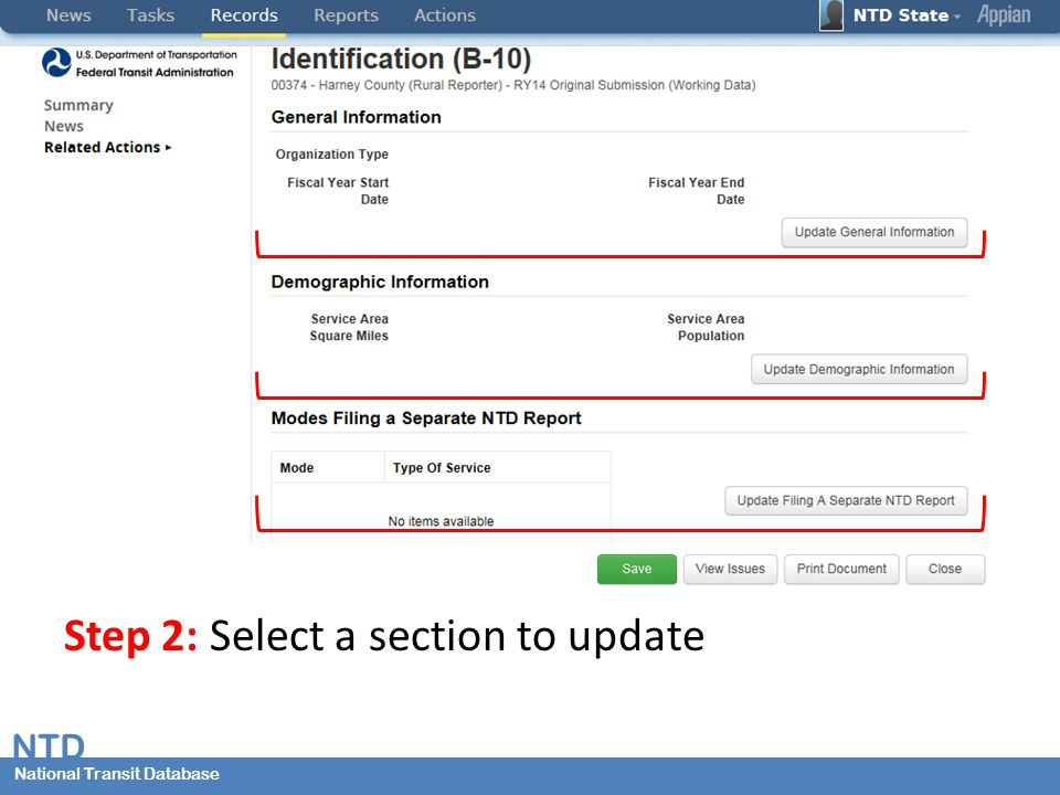 National Transit Database NTD National Transit Database Step 2: Select a section to update