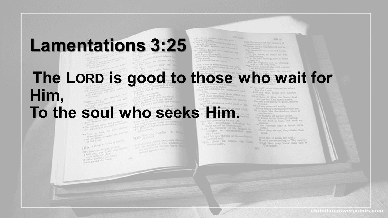 Lamentations 3:25 Lamentations 3:25 The L ORD is good to those who wait for Him, To the soul who seeks Him.
