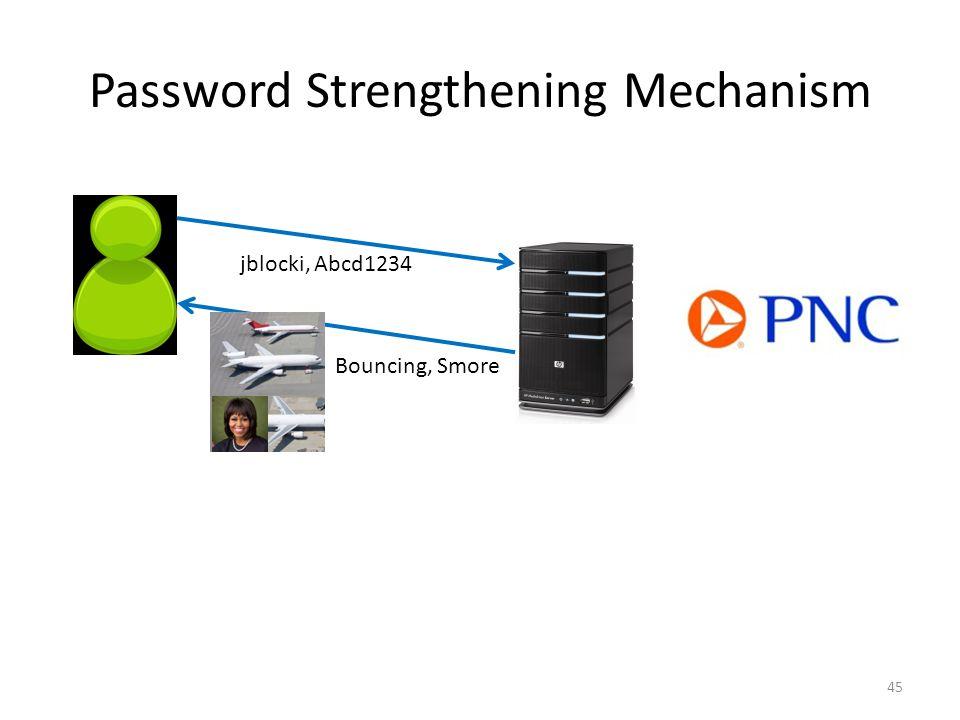 Password Strengthening Mechanism 45 jblocki, Abcd1234 Bouncing, Smore