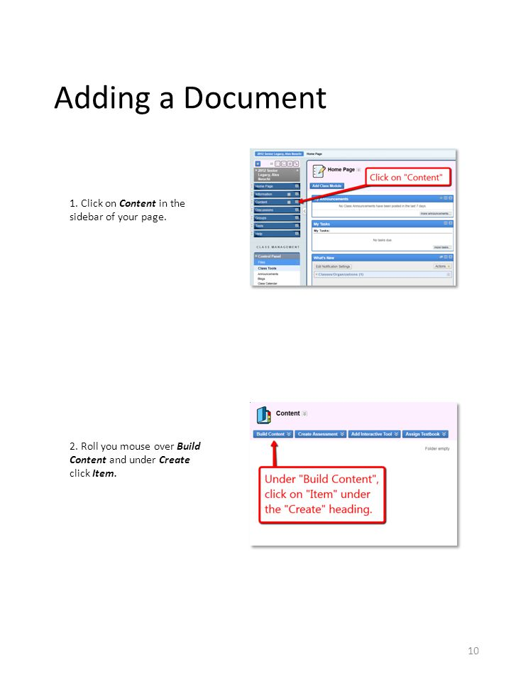 Adding a Document 1. Click on Content in the sidebar of your page.