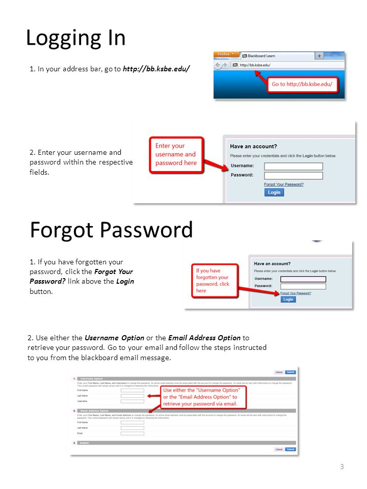 Logging In 2. Enter your username and password within the respective fields.