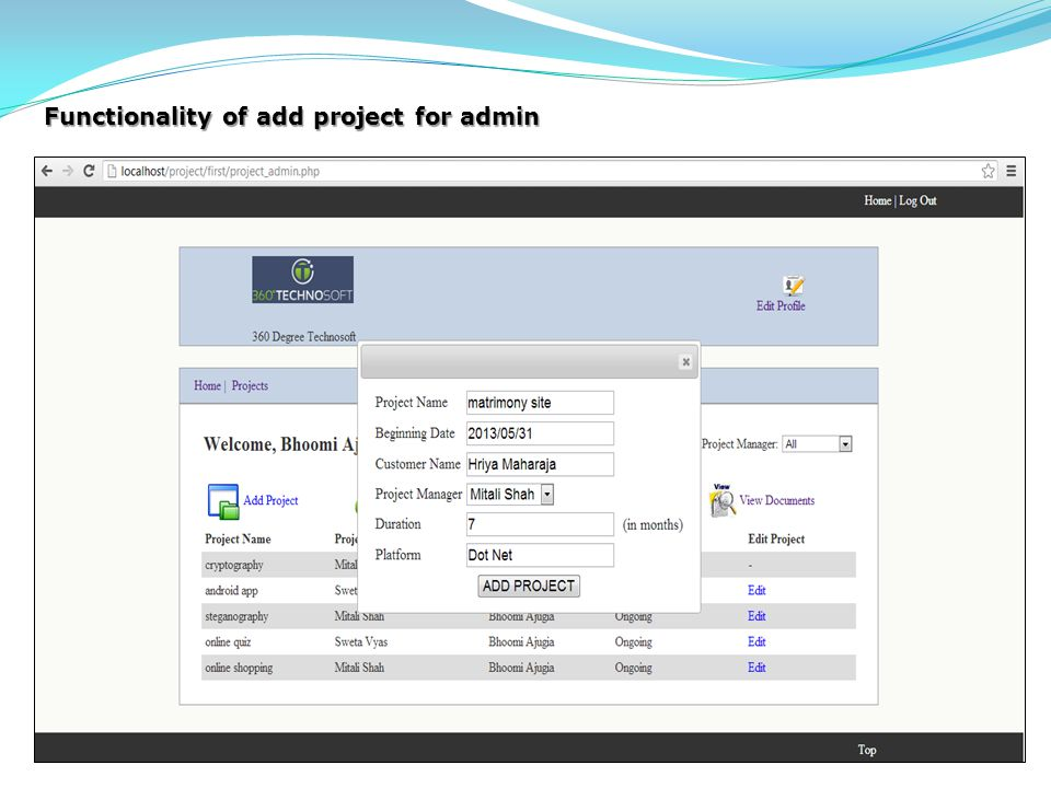 Functionality of add project for admin