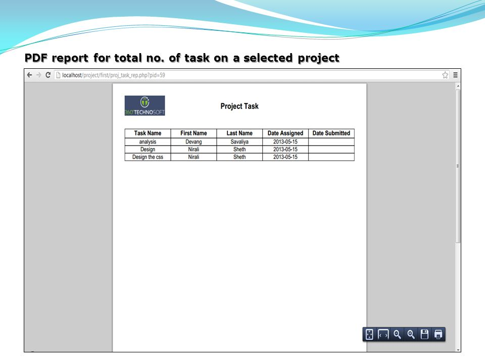 PDF report for total no. of task on a selected project