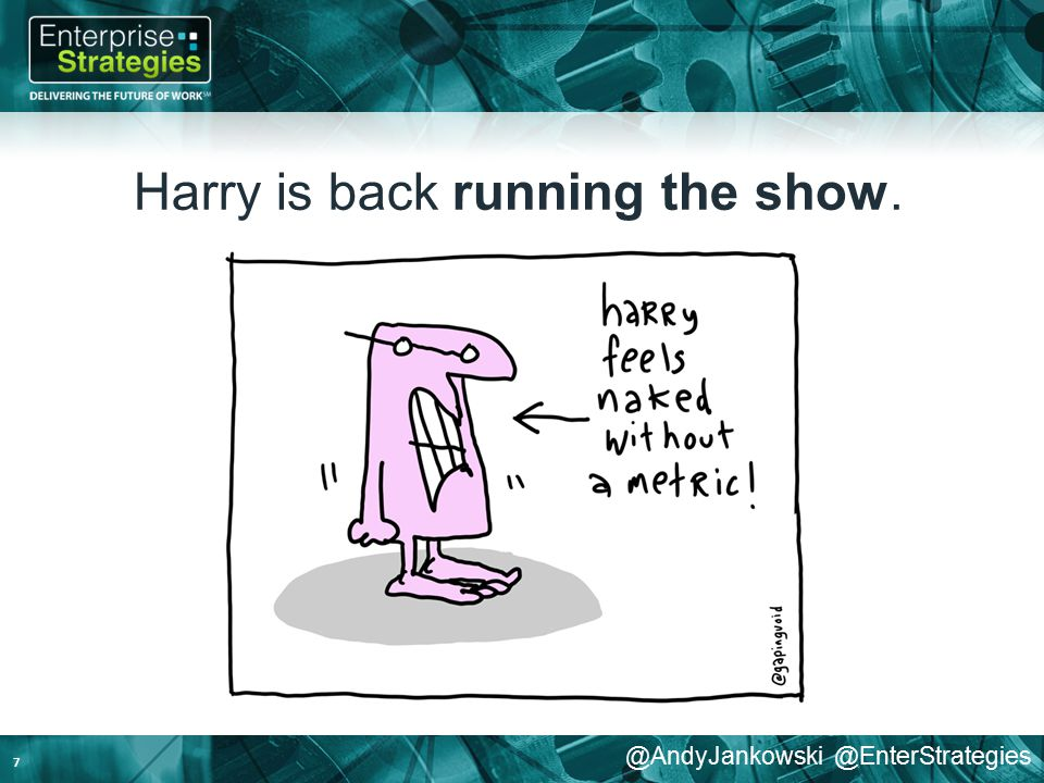@AndyJankowski @EnterStrategies Harry is back running the show. 7