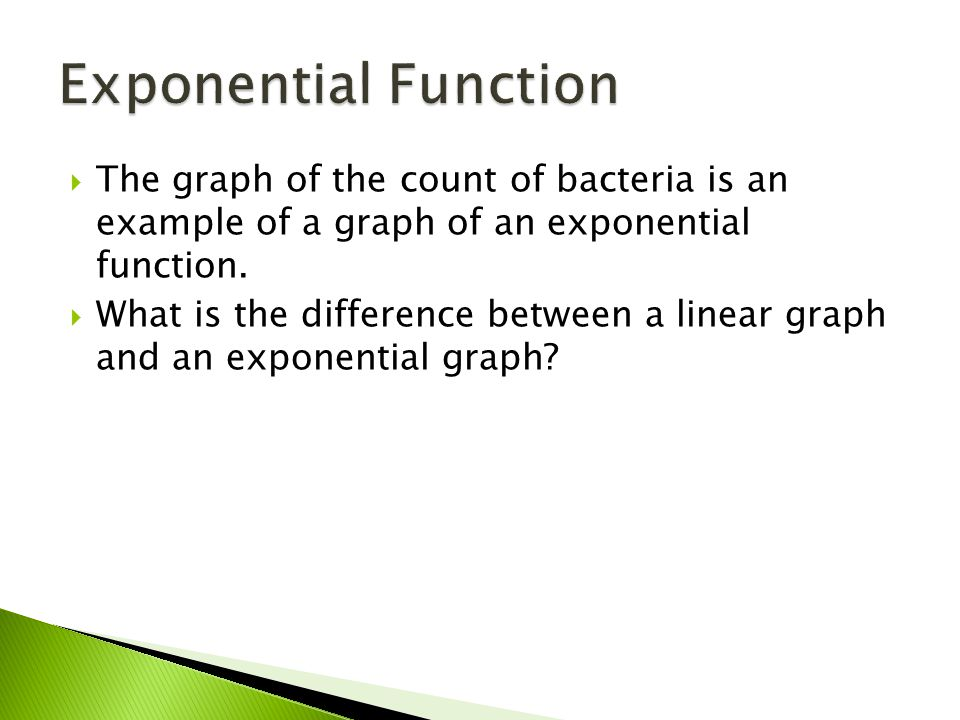  The graph of the count of bacteria is an example of a graph of an exponential function.