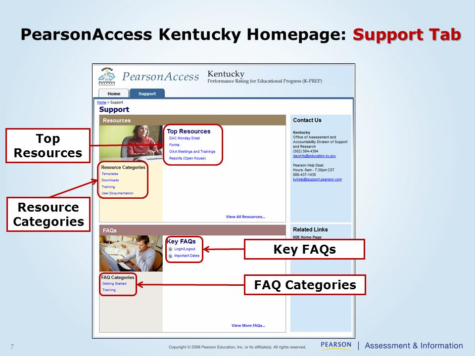 7 Support Tab PearsonAccess Kentucky Homepage: Support Tab Top Resources Key FAQs FAQ Categories Resource Categories