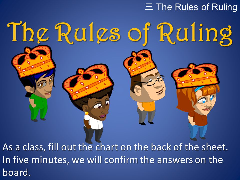 The Rules of Ruling As a class, fill out the chart on the back of the sheet. In five minutes, we will confirm the answers on the board. 三 The Rules of
