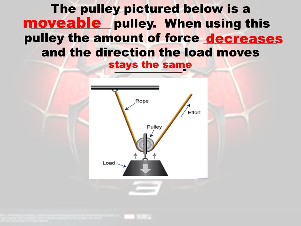 The pulley pictured below is a _____________ pulley. When using this pulley the amount of force ____________ and the direction the load moves ________