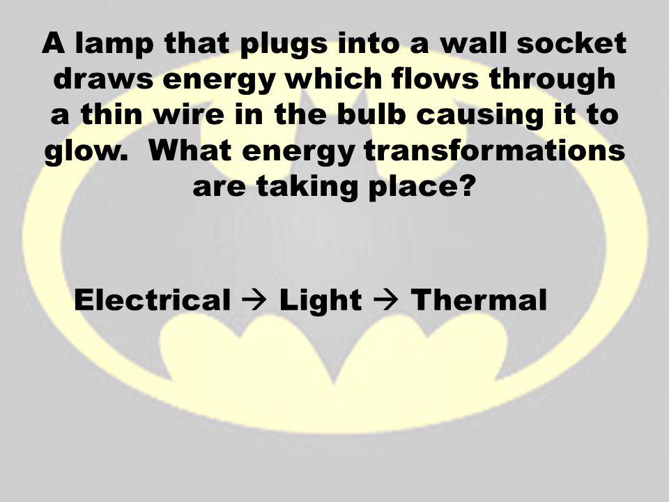 A lamp that plugs into a wall socket draws energy which flows through a thin wire in the bulb causing it to glow. What energy transformations are taki
