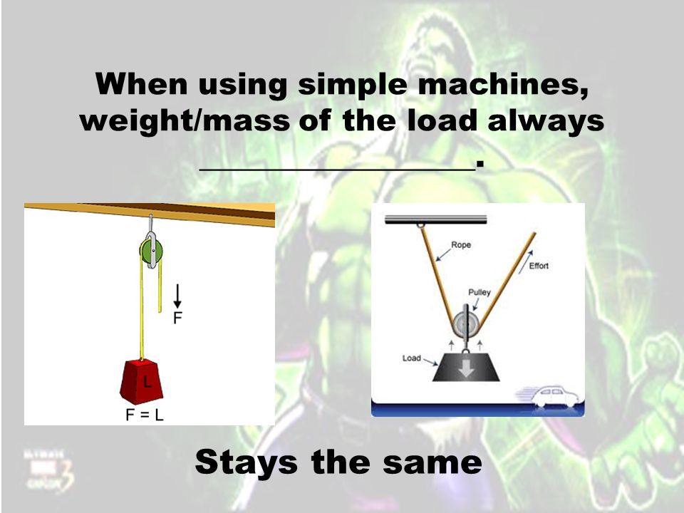 When using simple machines, weight/mass of the load always __________________. Stays the same