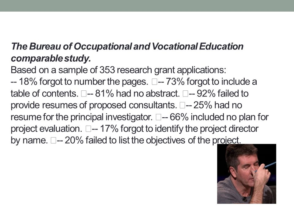 The Bureau of Occupational and Vocational Education comparable study. Based on a sample of 353 research grant applications: -- 18% forgot to number th