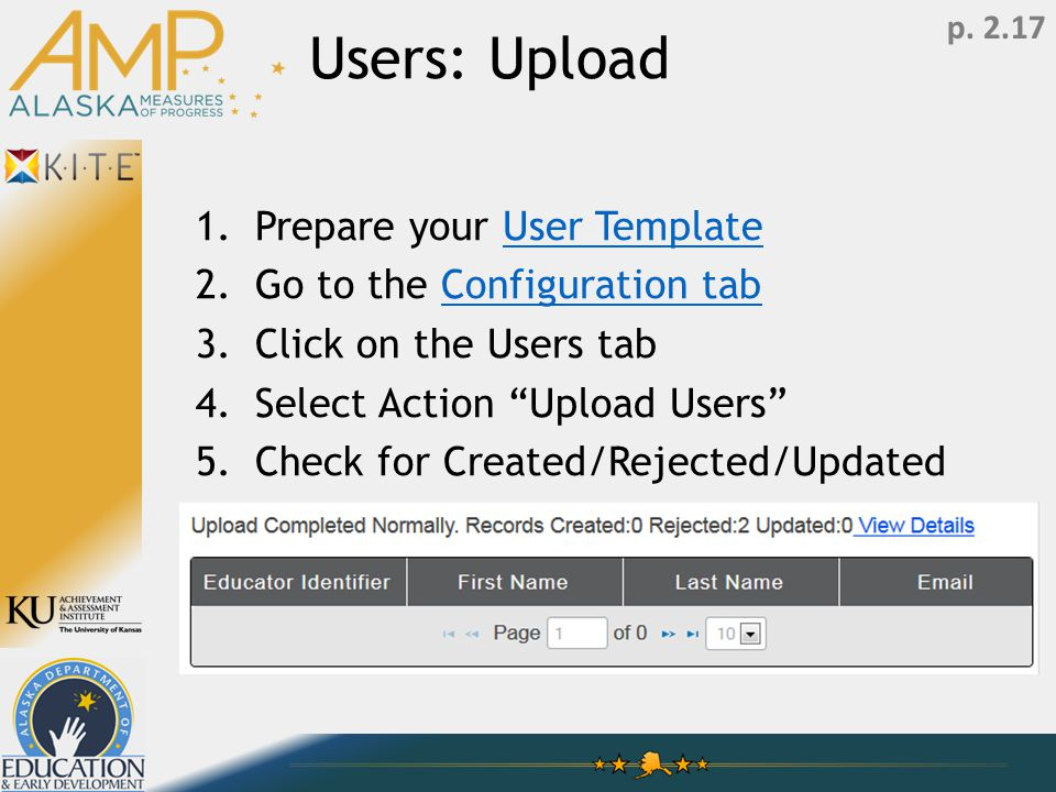 Users: Upload 1.Prepare your User TemplateUser Template 2.Go to the Configuration tabConfiguration tab 3.Click on the Users tab 4.Select Action Upload Users 5.Check for Created/Rejected/Updated p.