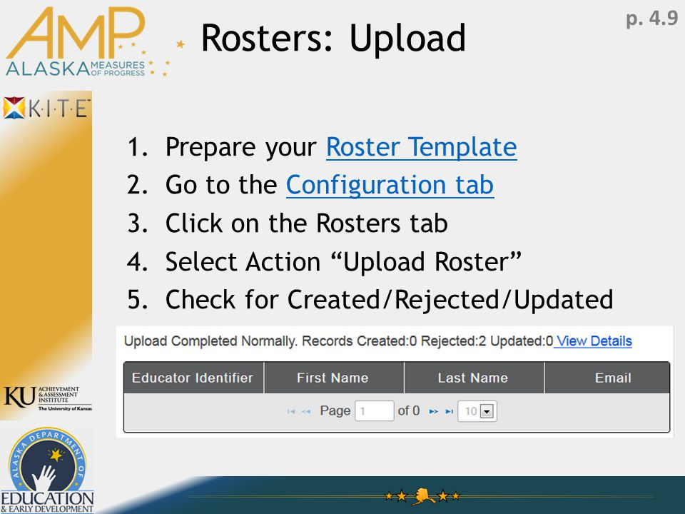 Rosters: Upload 1.Prepare your Roster TemplateRoster Template 2.Go to the Configuration tabConfiguration tab 3.Click on the Rosters tab 4.Select Action Upload Roster 5.Check for Created/Rejected/Updated p.