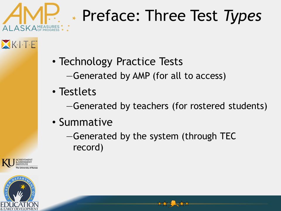 Technology Practice Tests —Generated by AMP (for all to access) Testlets —Generated by teachers (for rostered students) Summative —Generated by the system (through TEC record) Preface: Three Test Types