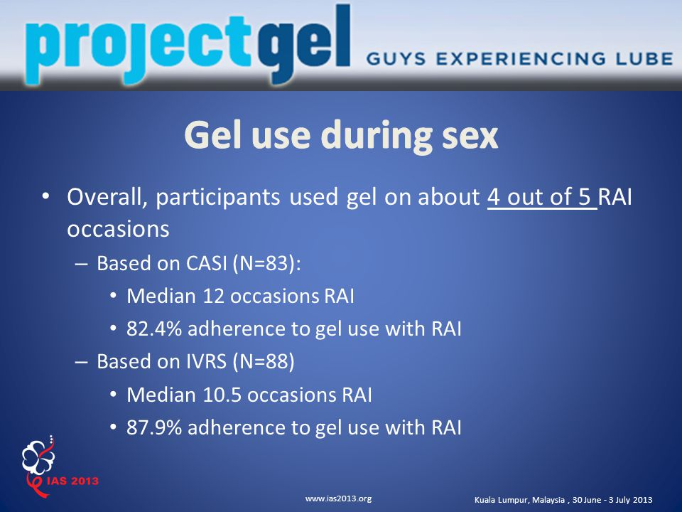www.ias2013.org Kuala Lumpur, Malaysia, 30 June - 3 July 2013 Correlated factors – Liking the gel – Sexual enjoyment with gel – Positive partner reaction to gel – Likelihood of future use of gel if effective