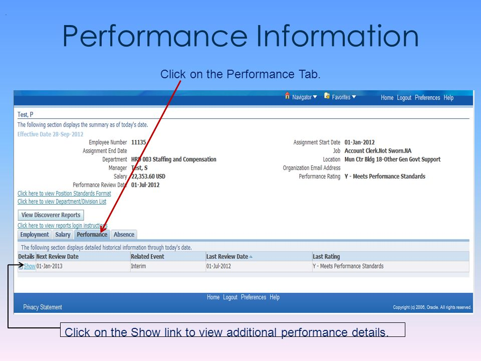 Performance Information Click on the Performance Tab.. Click on the Show link to view additional performance details.