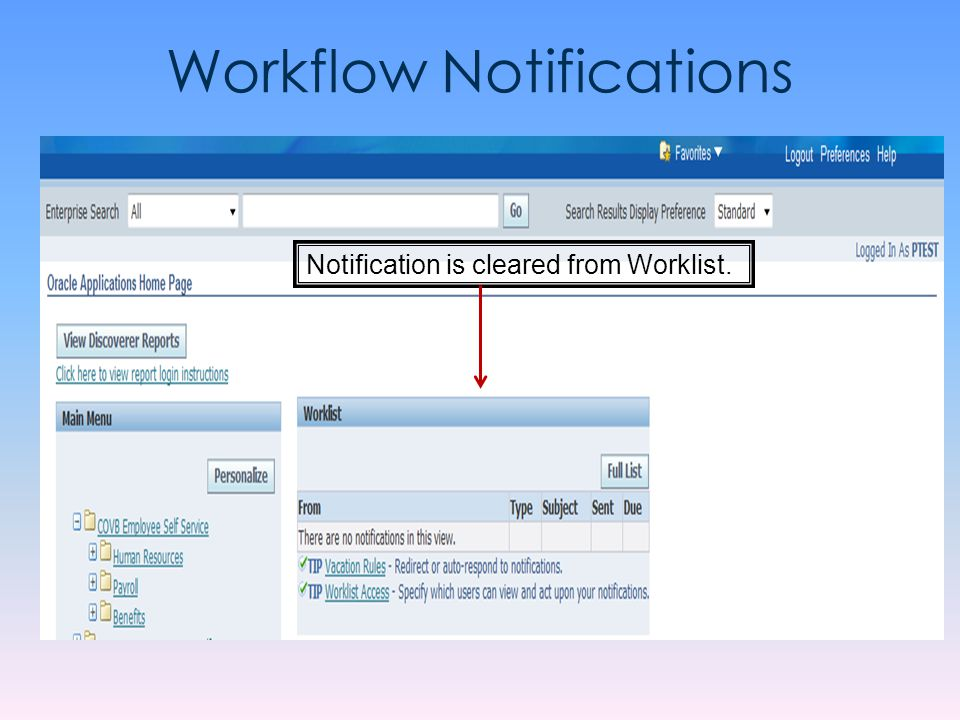 Workflow Notifications Notification is cleared from Worklist.