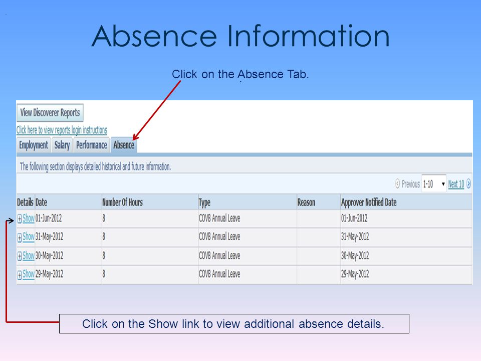 Absence Information Click on the Absence Tab.. Click on the Show link to view additional absence details..