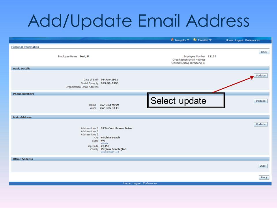 Add/Update Email Address Select update