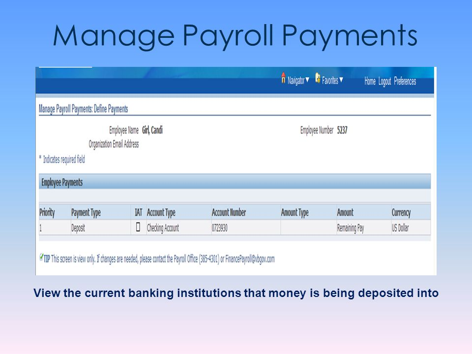 Manage Payroll Payments View the current banking institutions that money is being deposited into