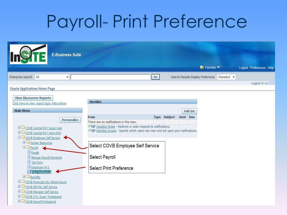 Payroll- Print Preference