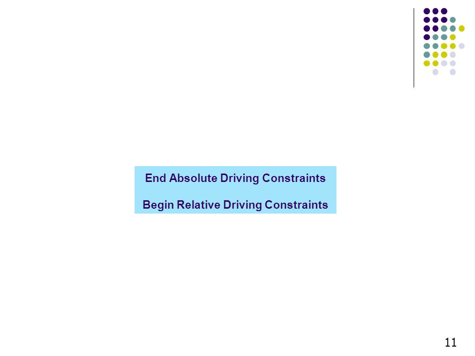 End Absolute Driving Constraints Begin Relative Driving Constraints 11