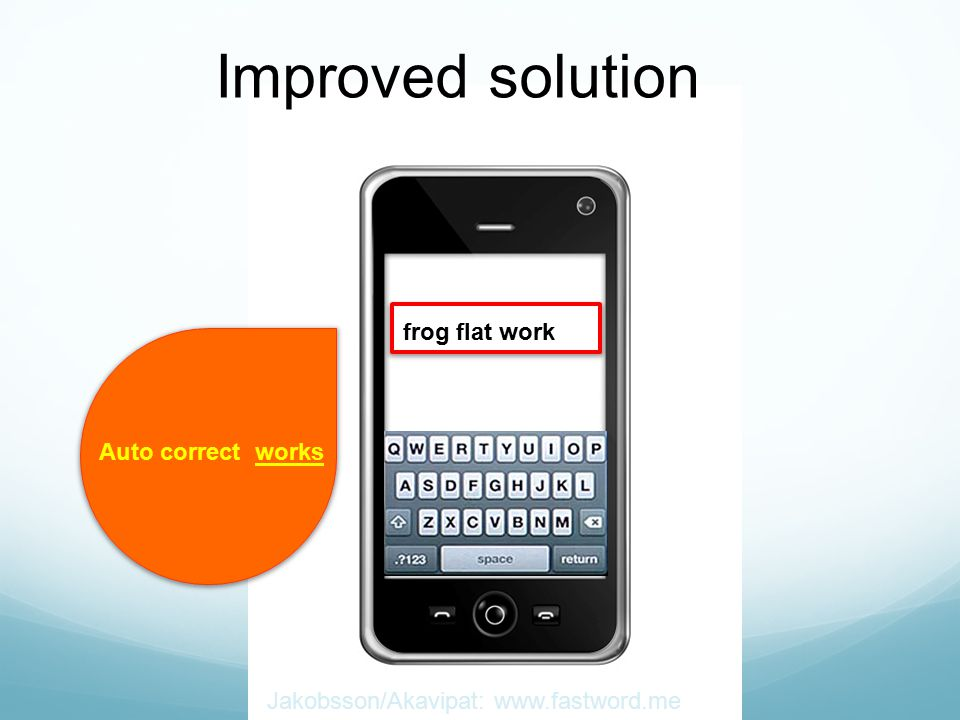 Jakobsson/Akavipat: www.fastword.me Auto correct works frog flat work Improved solution