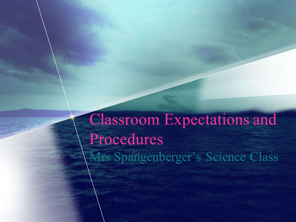Classroom Expectations and Procedures Mrs Spangenberger's Science Class
