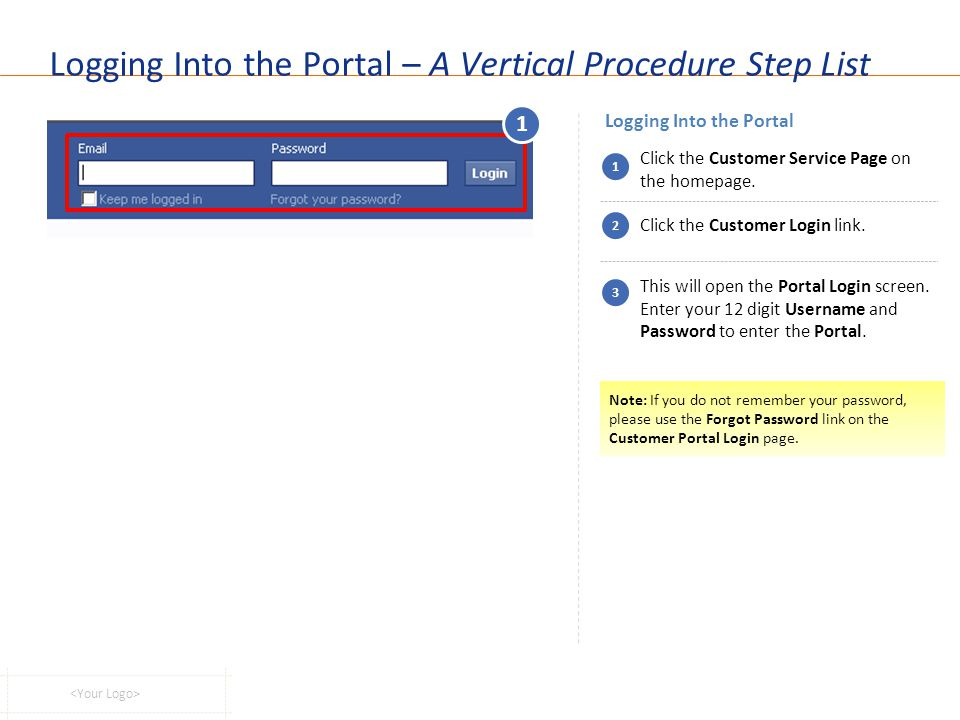 Logging Into the Portal – A Vertical Procedure Step List Logging Into the Portal 1 Click the Customer Service Page on the homepage. Click the Customer