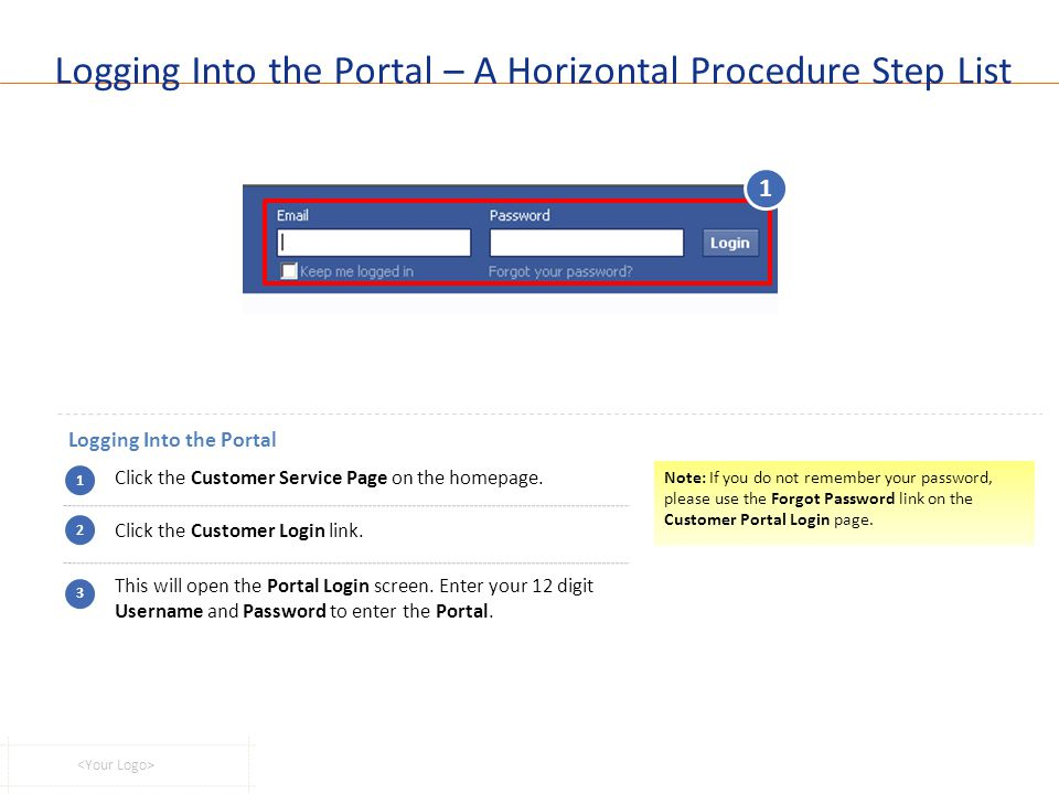 Logging Into the Portal – A Horizontal Procedure Step List Logging Into the Portal 1 Click the Customer Service Page on the homepage. Click the Custom