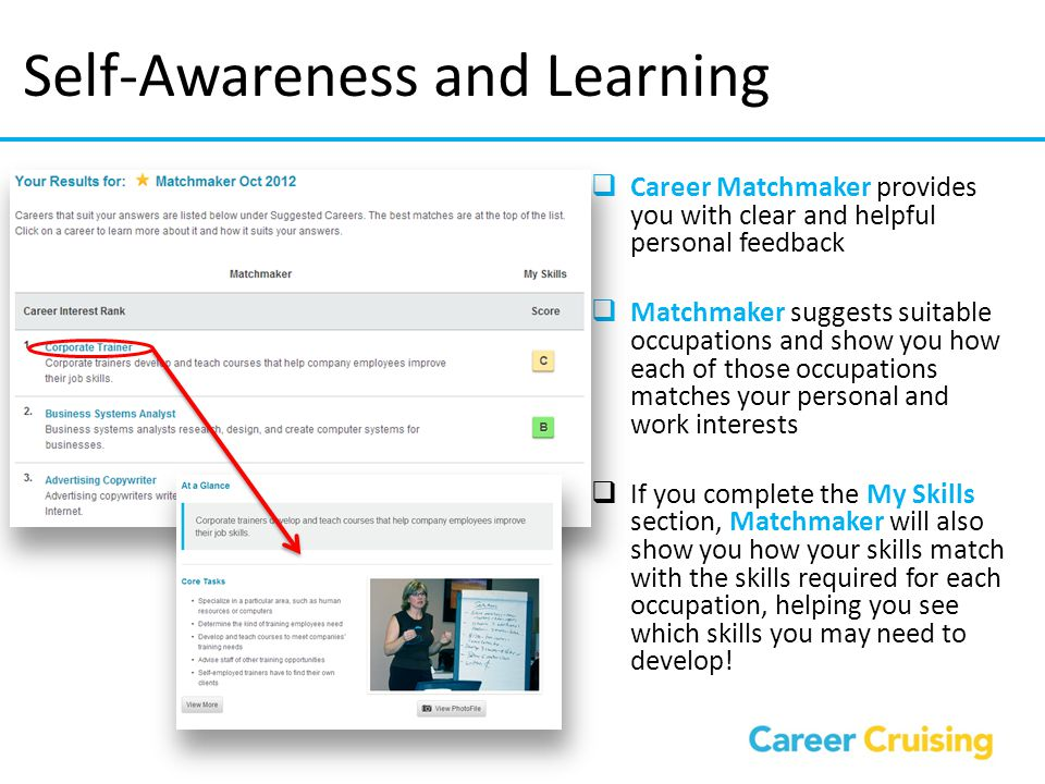 My Skills Assessment  My Skills section of Career Matchmaker allows you to rate your skill level in 45 areas  Once you have completed the assessment, icons indicating the level of skill suitability appear beside the career names on the Career Suggestions page  In this section of the SSP, you can compare your My Skills results to the suggested careers from the Matchmaker results My Skills