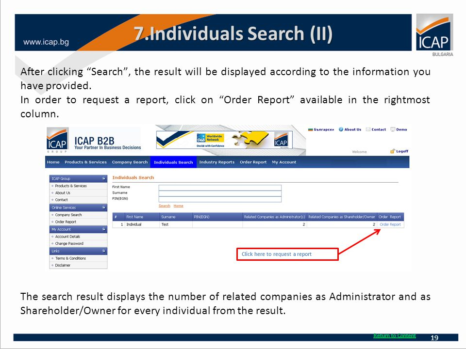7.Individuals Search (II) After clicking Search , the result will be displayed according to the information you have provided.