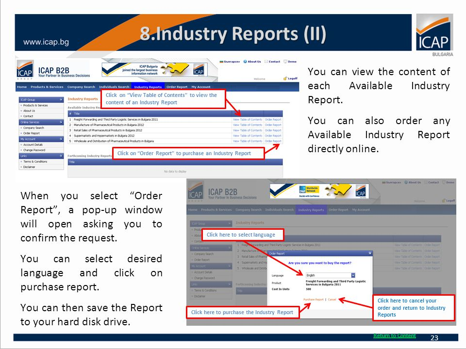 8.Industry Reports (II) You can view the content of each Available Industry Report. You can also order any Available Industry Report directly online.