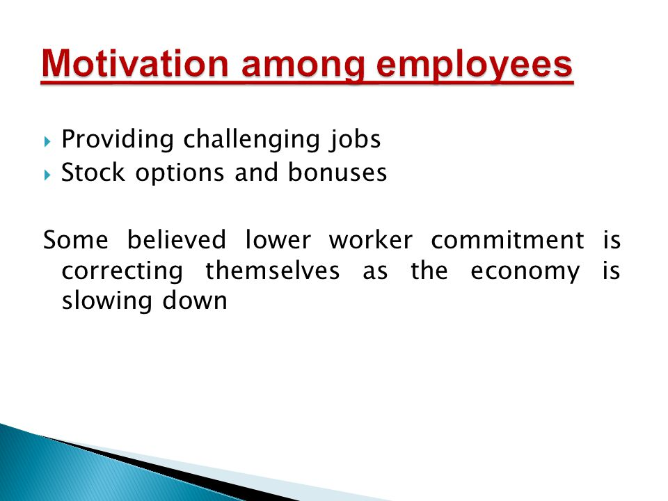  Providing challenging jobs  Stock options and bonuses Some believed lower worker commitment is correcting themselves as the economy is slowing down