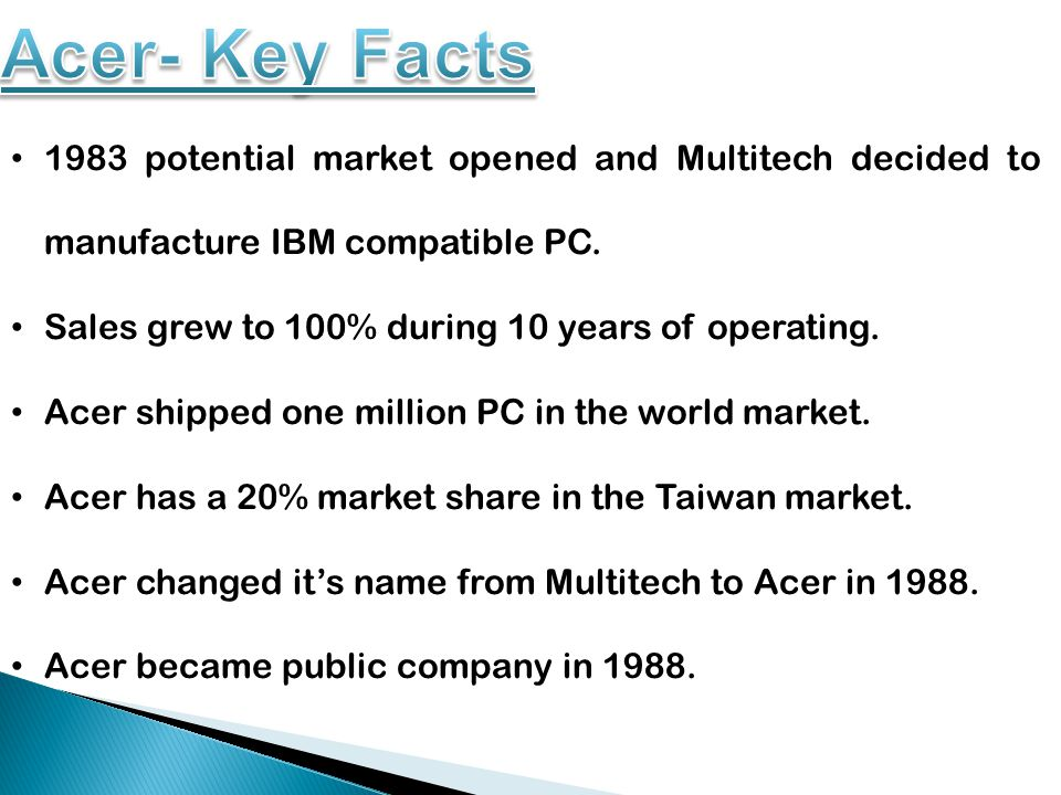Acer established it's first foreign manufacturing unit in Malaysia in 1990.