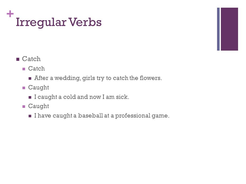 + Irregular Verbs Catch After a wedding, girls try to catch the flowers.