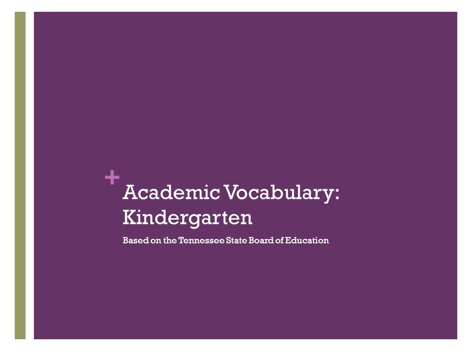 + Academic Vocabulary: Kindergarten Based on the Tennessee State Board of Education