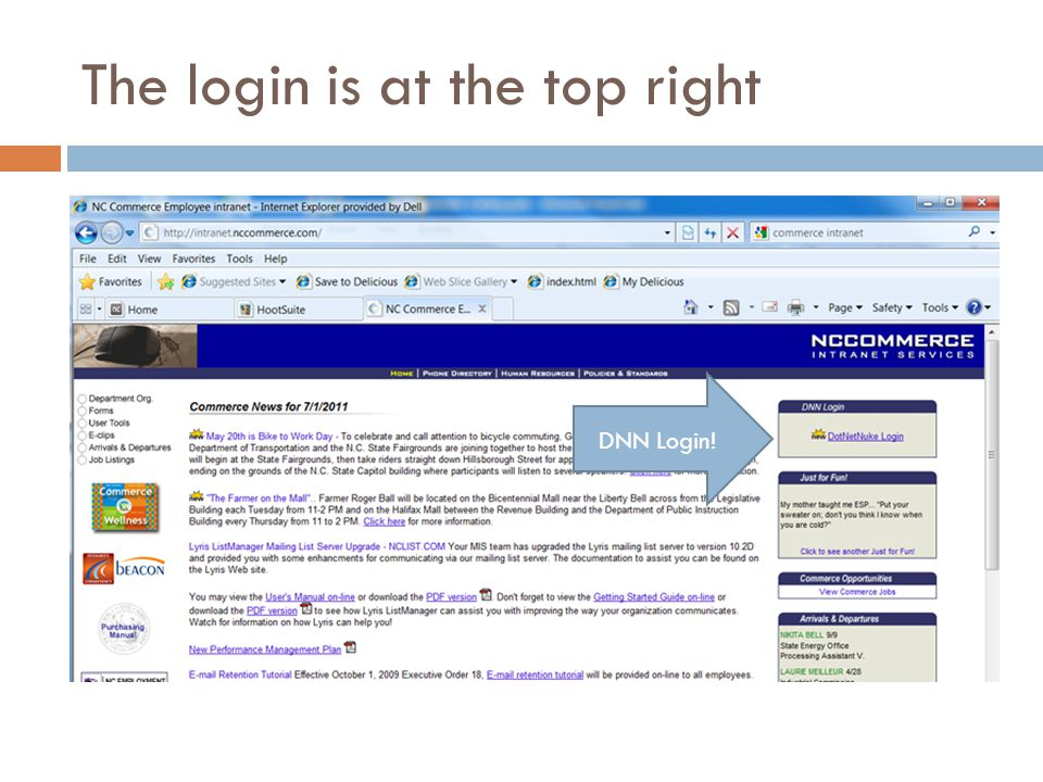 The login is at the top right DNN Login!