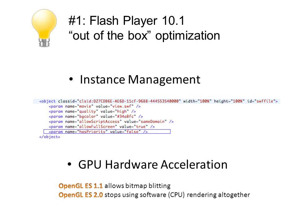 #2: Profiling ur App Flash Benchmark 8: http://www.kongregate.com/games/SnailsAnimation/flash-benchmark-08 or http://www.timo-ernst.net/misc/riabench-start/ http://www.kongregate.com/games/SnailsAnimation/flash-benchmark-08http://www.timo-ernst.net/misc/riabench-start/ Flash Builder Profiler Profiling with System Tools Grant Skinner's Benchmark AS3 FlexUnit 4.1 Benchmark FrameStats - Monitor Frame Rate Open Source Profiler - http://jpauclair.net/flashpreloadprofiler/