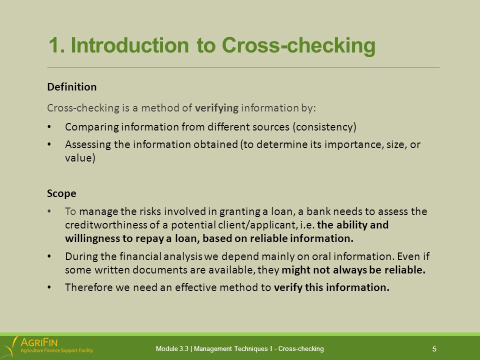 1a.What do we Cross-check.