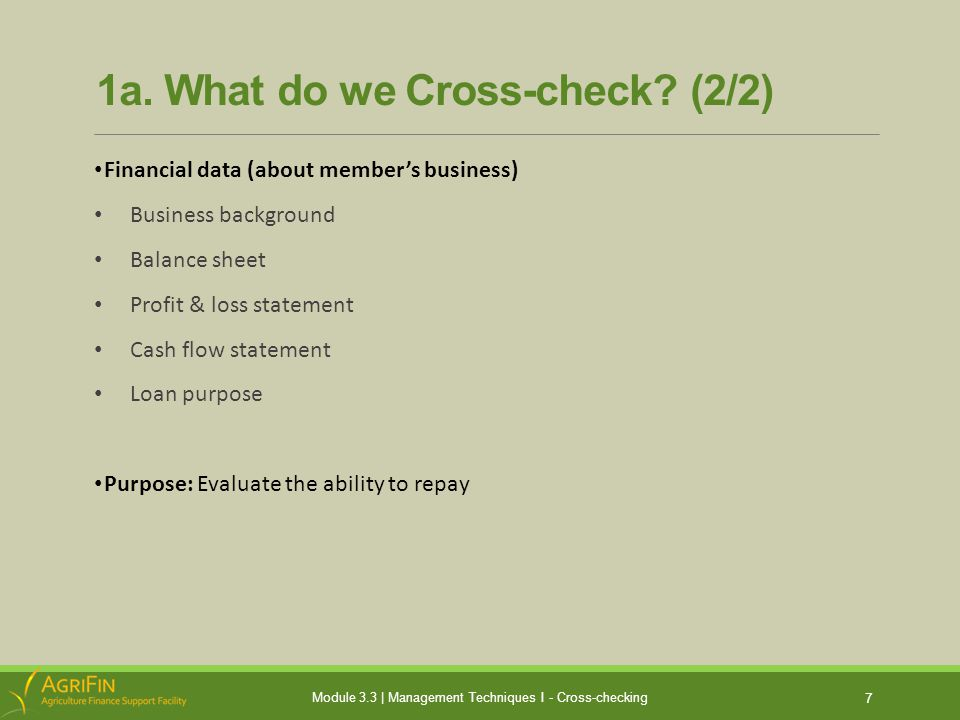 1a. What do we Cross-check.