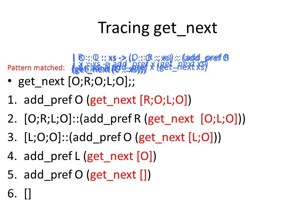 Tracing get_next get_next [O;R;O;L;O];; 1.add_pref O (get_next [R;O;L;O]) 2.[O;R;L;O]::(add_pref R (get_next [O;L;O])) 3.[L;O;O]::(add_pref O (get_next [L;O])) 4.add_pref L (get_next [O]) 5.add_pref O (get_next []) 6.[] | x :: xs -> add_pref x (get_next xs) | R :: O :: xs -> (O :: R :: xs) :: (add_pref R (get_next (O :: xs))) | O :: L :: xs -> (L :: O :: xs) :: (add_pref O (get_next (L :: xs))) | x :: xs -> add_pref x (get_next xs) | [] -> [];; Pattern matched: