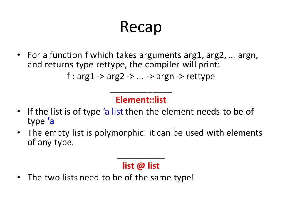 solution let rec elim_consec = function | [] -> [] | [x] -> [x] | x :: x :: xs -> if x = x then elim_consec (x :: xs) else x :: elim_consec (x :: xs);; let rec elim_dupls xs = xs |> sort compare |> elim_consec ;; let combine xs ys = elim_dupls (rev_append xs ys);;
