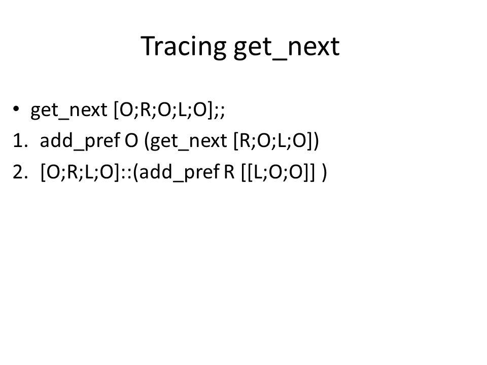 Tracing get_next get_next [O;R;O;L;O];; 1.add_pref O (get_next [R;O;L;O]) 2.[O;R;L;O]::(add_pref R [[L;O;O]] )
