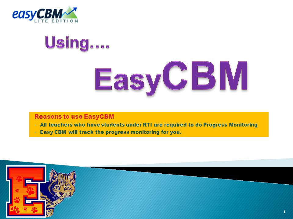Reasons to use EasyCBM All teachers who have students under RTI are required to do Progress Monitoring Easy CBM will track the progress monitoring for you.