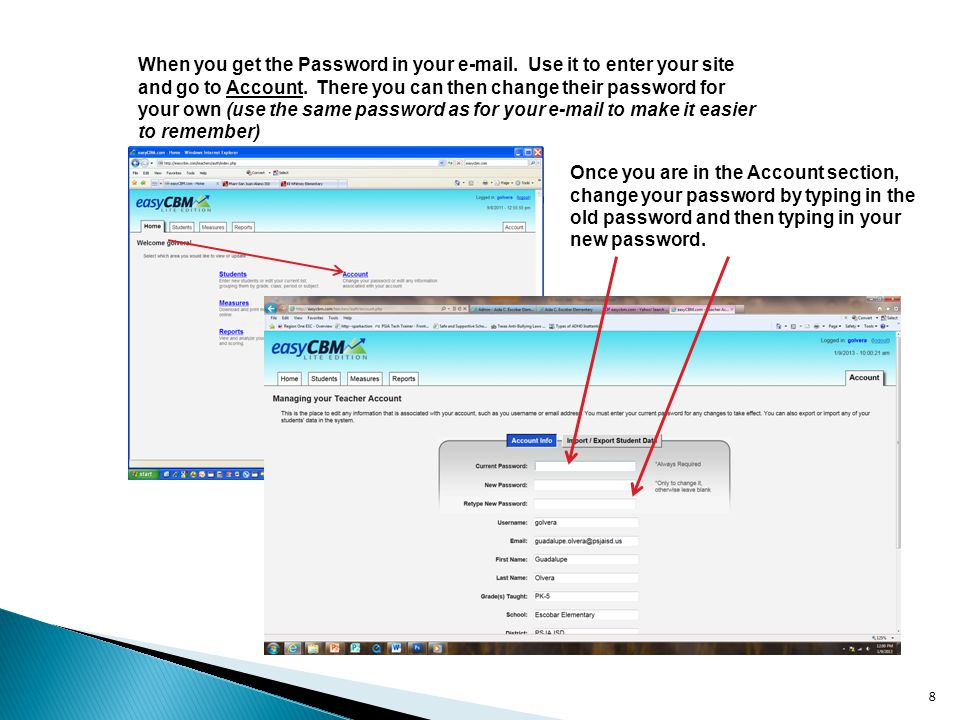 8 When you get the Password in your e-mail.Use it to enter your site and go to Account.