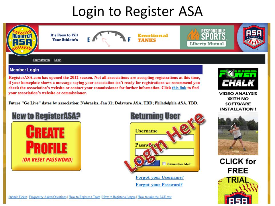 Login to Register ASA