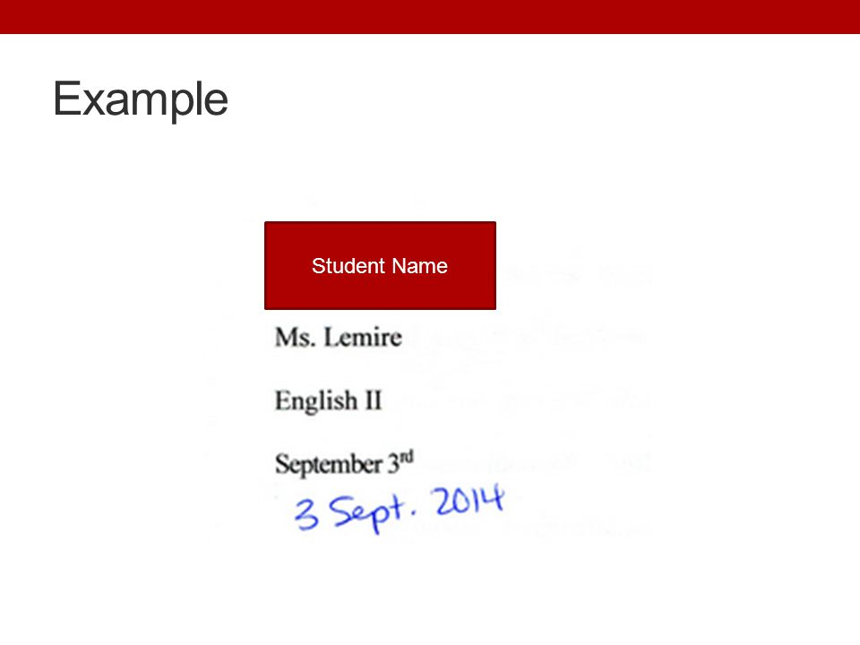 Example Student Name