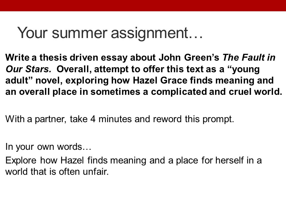 Your summer assignment… Write a thesis driven essay about John Green's The Fault in Our Stars.